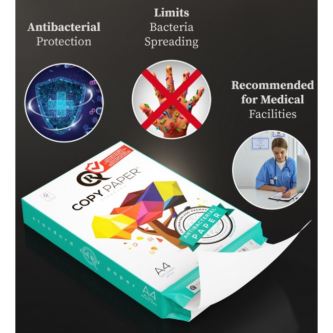 5 Topuri/Cutie Hartie Copiator A4 Antibacteriana 500 coli/top pentru xerox si imprimanta 80g/mp